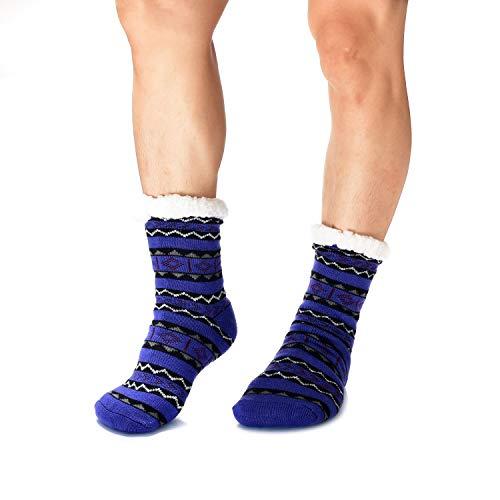 WOTENCE Calcetines forro polar para hombre, cálidos, extra gruesos, antideslizantes,Hombre Navidad Pantuflas Invierno Calcetines