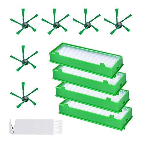 De Galen Piezas de repuesto piezas de repuesto 6 cepillos laterales y 4 filtros Hepa y 1 kit de accesorios de herramienta de limpieza para accesorios de aspiradora Vorwerk Kobold VR200 VR300