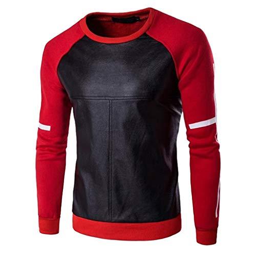 Preisvergleich Produktbild SUCES Männer Sweatshirt Herbst Winter Leder Patchwork T-Shirt Lose Pulli Sport Streetwear Herren Lässige Oberteile (rot, M)