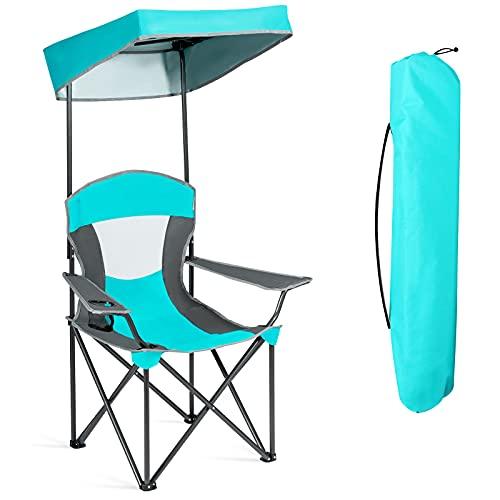 GOPLUS Sedia Parasole Pieghevole, Sedia da ombrellone, Sedia da Salotto con ombrellone, Set Mobili da Giardino per Esterni, 90 x 72 x 150 cm (Azzurro)