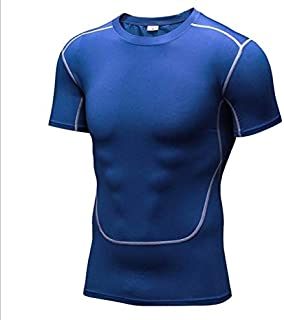 BEESCLOVER Summer Men's Running Shirt Short-Sleeved Tight Training Tops Quick-Dry Gym Shirt Simple Solid 6colors