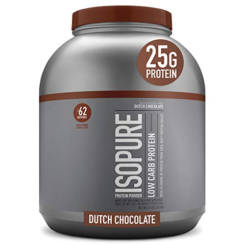 Isopure Low Carb, Vitamin C and Zinc for Immune Support, 25g Protein, Keto Friendly Protein Powder, 100% Whey Protein Isolate, Flavor: Dutch Chocolate, 4.5 Pounds (Packaging May Vary)