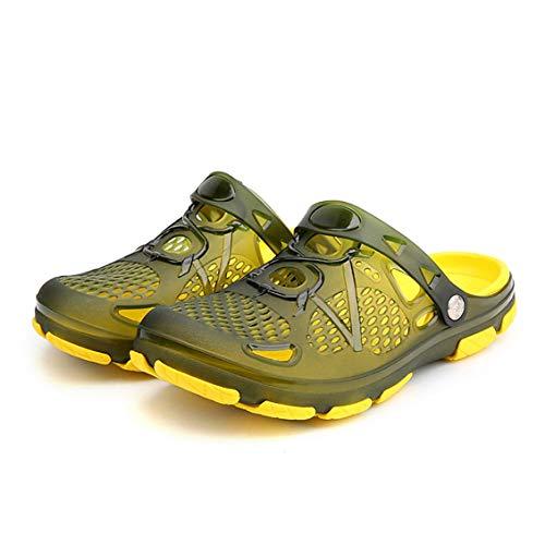 802 Eva Shoes Zapatos con agujeros para hombres Zapatos con agujeros de verano Sandalias Transpirables Casual al aire libre Antideslizante Zapatillas de playa-Verde militar-41