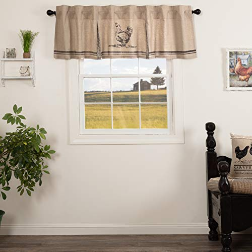VHC Brands Sawyer Mill Curtain, Valance 20x72, Charcoal Grey