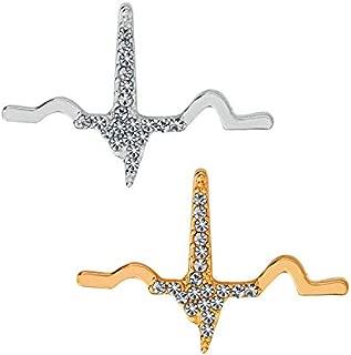 2-Set of Metal Silver and Golden ECG P QRS T Waveform Brooch White Coat Pins Gift for Doctors EMT EMS