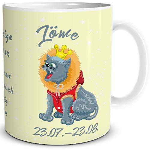 TRIOSK Tasse Katze lustig mit Spruch Sternzeichen Löwe Katzenmotiv Geschenk Geburtstagstasse für Katzenliebhaber Frauen Freundin