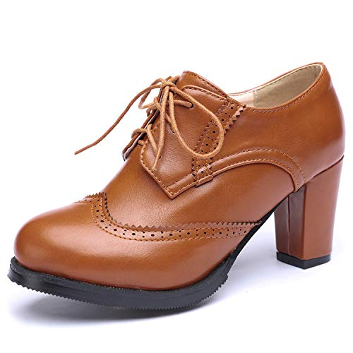 Odema Women Brogue Pumps Wingtip Lace-Up High Heel Oxfords Shoes Ankle Boots Brown