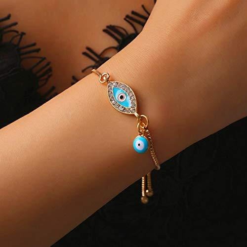 Jovono Auge des Teufels Armband zierliche Kristall Armband für Frauen und Mädchen (1 Stück) (Gold)