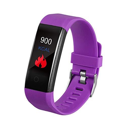 FFF8 Prueba De Temperatura Corporal Pulsera Inteligente IP67 a Prueba De Agua Reloj Deportivo Banda Impermeable SmartWatch Fitness (Color : Purple)