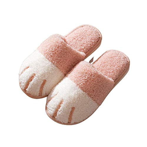 Y-PLAND Cartoon cat's claw plush slippers, spring, autumn and winter cotton slippers, warm indoor slippers for couples-Pink_UK6-6.5