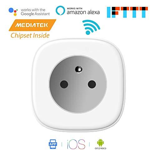 Meross Intelligente WiFi Prise 16A connectée WiFi avec mesure de consommation, compatible avec Amazon Alexa (Echo et Echo Dot), Google Assistant et IFTTT pour la commande vocale, MSS310FR