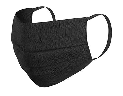 5X Mundmasken Baumwolle 3-lagig Mundschutz Staub Pollen Gesichtsmaske Fashion Maske Gesichtsschutz Face Masks wiederverwendbar waschbar,schwarz