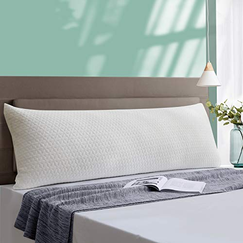 Yalamila Full Body Pillow for Adults, Soft Long Bed Pillow for Summer, Body Pillow with Pillowcase, Removable Zippered Bamboo Cover Cooling Breathable, 20x54 inch, Body Pillow Insert with Cover