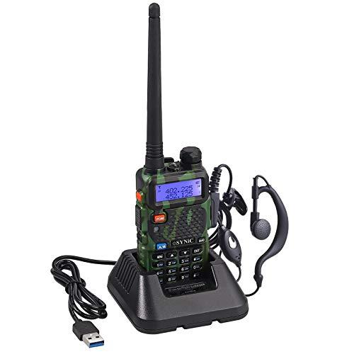 ESYNiC Walkie Talkie Professionale UV-5R Ricetrasmettitore Dual Band 65 MHz~108MHz VHF/UHF FM 128 Canali Memoria Walky Talky LED FM Radio con USB Cavo Alimentazione Supporta VOX - Verde Camouflage