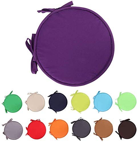Nicole Knupfer 2 Pack Chair Cushion Round Seat Pads with Ties Chair Mat for Home Office Garden Patio Coffee Shop Bar Pad Round Cushions Non Slip (Purple,30cm in diameter)