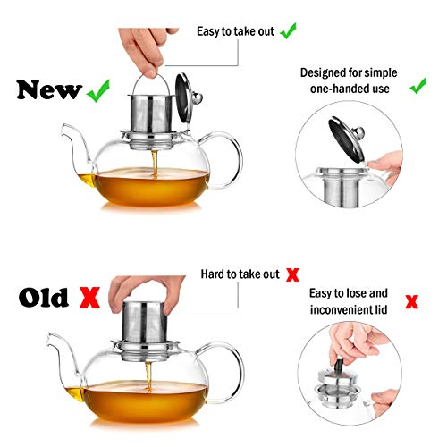 Artcome 1000ml / 34oz Glass Teapot with Removable Infuser, Stovetop Safe Teapot, Blooming and Loose Leaf Tea Pots