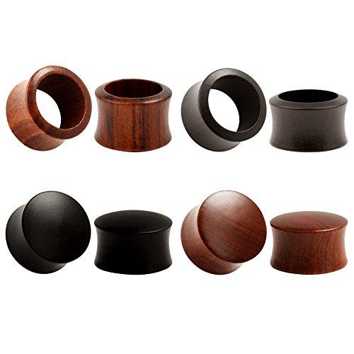 KUBOOZ (conjunto de 4 pares) Tapones para los oídos de ébano de madera de sándalo de la naturaleza Medidores de ensanchamiento Piercings de camilla0g