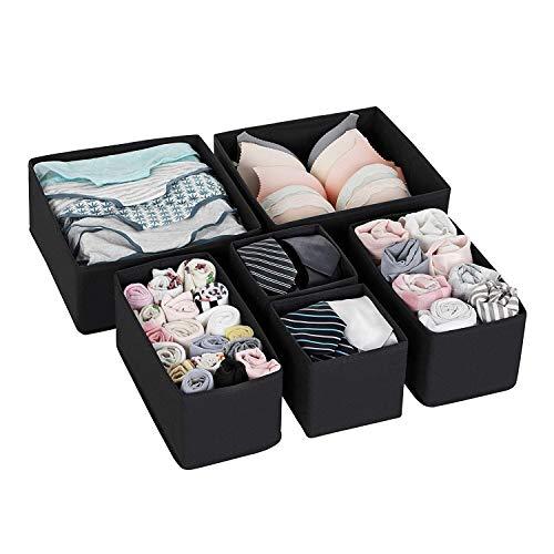 Qisiewell Unterwäsche-Aufbewahrungsbox Schublade Organizer Kleiderschrankschubladen Divider für Socken BHS Krawatten Faltbox Stoffbox Schrank 6er Set Schwarz