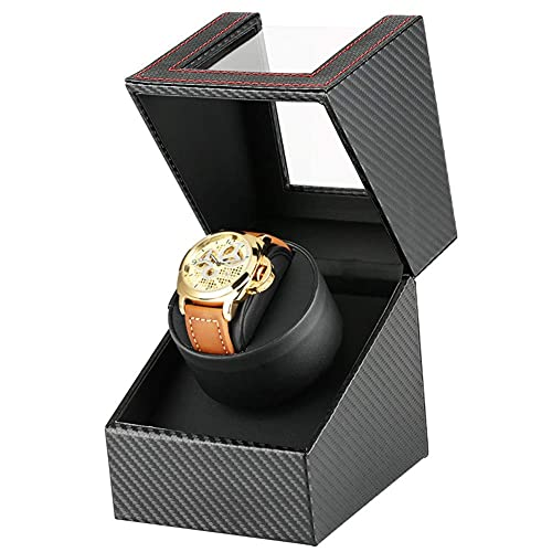 Sunmong Enrollador de Reloj 1 + 0 Caja de enrollamiento de Lujo Negro Mecánico Automático Reloj Caja de enrollamiento Motor de Almacenamiento Agitador Enrolladores de Reloj Caja de Reloj (Color: UK)