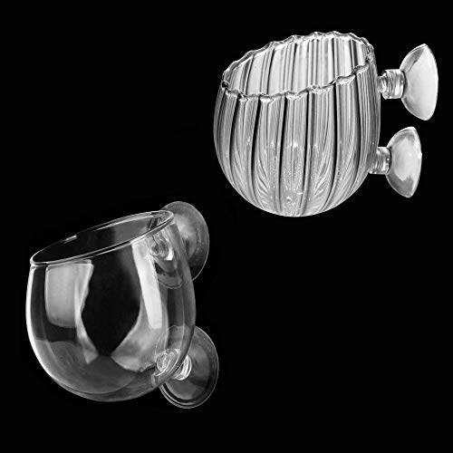 Vaso per tazza in vetro vegetale con 2 ventose Mini Cristallo di Vetro Acquario pentola Acqua pentola pianta d'Acqua Cilindro Tazza con Ventose per Acquario Accessorio acquatico per acquario