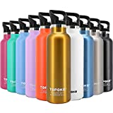 TOPOKO 25 OZ Double Wall Stainless Steel Water Bottle, Straw Lid with Handle Vacuum Insulated, Sweat Proof, Leak Proof Thermos Hydro Standard Mouth Flask With Straw-Gold