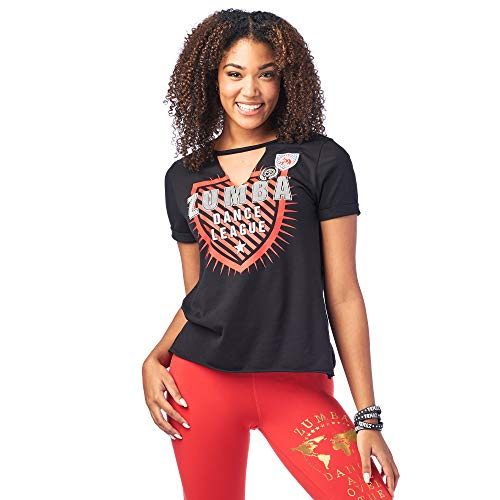 Zumba Damen Active Dance Graphic Tees for Women Loose Fitness V-Neck Workout T Shirt Hemd, Bold Black 4, XXL