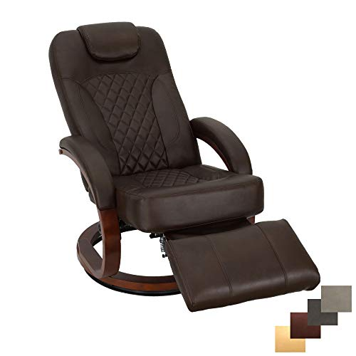 RecPro Nash 28' RV Euro Chair Recliner   Modern Design   RV Furniture   Swivel Base   Recliner Chair (1 Chair, Chestnut)