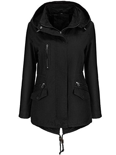 Stel4Style Damen Jacke ÜBERGANGSJACKE Trenchcoat Kapuze 100% Baumwolle LEICHT KURZ Mantel, Größe:S, Farbe:Schwarz 01