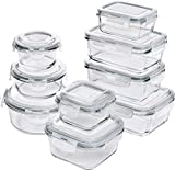 topia Kitchen [18-Pieces] Glass Food Storage Containers with Lids - Glass Meal Prep Containers with Transparent Lids - BPA Free - (9 Containers
