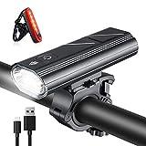 Wasafire Luz Bicicleta LED Recargable USB,3000 Lumen 5200 mAh Potente Luces Bicicleta Delantera y Trasera, 5 Modos, Impermeable Luces Seguridad para Ciclismo de Montaña y Carretera (Rojo)