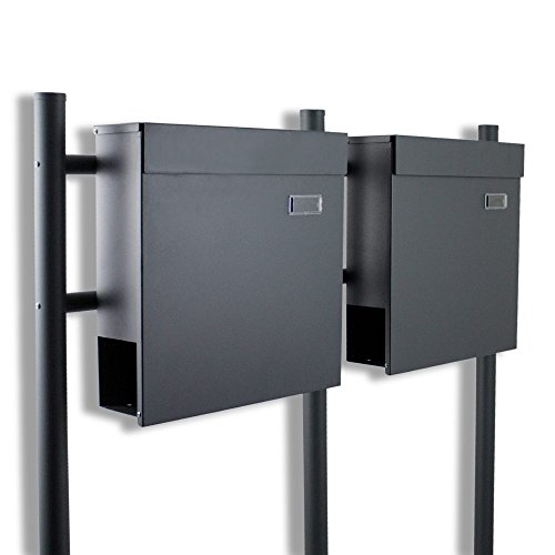 BITUXX® Doppelstandbriefkasten Briefkasten Postkasten Mailbox Letterbox Briefkastenanlage mit integrierten Zeitungsfach Dunkelgrau Anthrazit