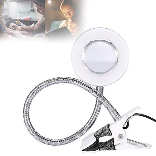 Brrnoo Lampara de Escritorio, Lampara LED para Lectura y Tatuaje y Maquillaje, con Luz Fría y Cálida 2 Modes, USB Plug