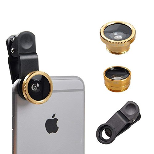 I-Sonite - Lente de cámara Universal 3 en 1 para teléfono móvil con Gran Angular + Ojo de pez + Lente Macro para BQ Aquaris E10 WiFi