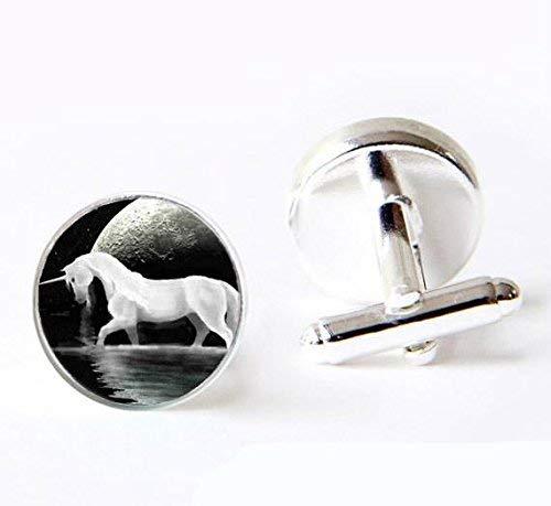 Gemelos de plata con diseño de unicornio blanco vintage y luna completa, para hombres, mujeres y novios hechos a mano, regalo de boda y Navidad