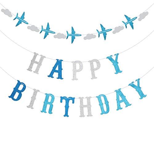 Amosfun 1 stück Happy Birthday Letters Ziehen Flagge Unterschiedliche Farbe mit Glitters Flugzeug Banner für Kinder Erwachsene Geburtstag