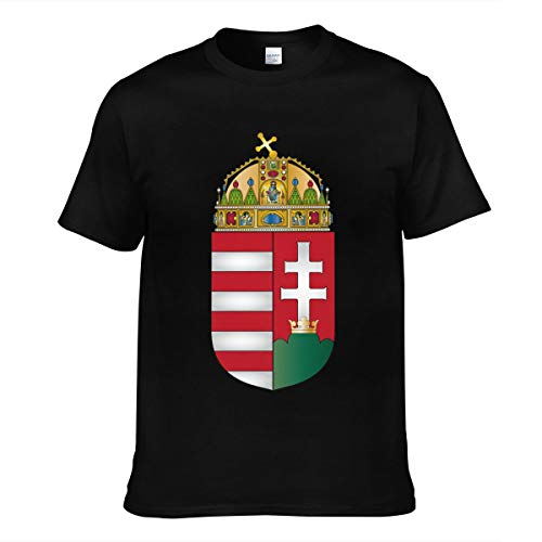 Hommes Homme Coat of Arms of Hungary Logo Sommer Manches Courtes Tee Shirts Chemise T Shirt Col Rond pour Men Black S T-Shirt