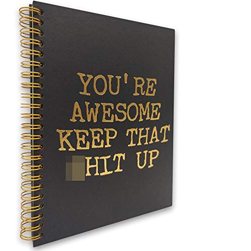 akeke You are Awesome Inspirational Hardcover Spiral Notebook/Journal, Gold Foil Words, Gold Wire-o Spiral, Funny Notes Diary Book Gift for Women, Friend, Sister, student, Daughter