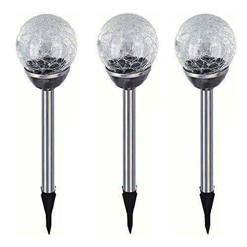 3x Edelstahl LED Solar Gartenleuchte Kugel mit Crackle-Licht Solarlampe Solarleuchte Deko Garten Leuchte Weiß Lampe