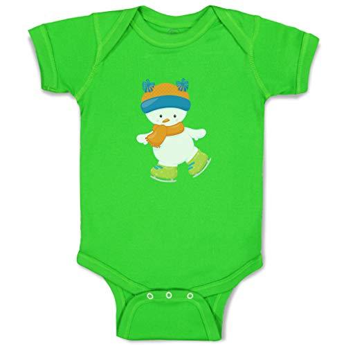 Custom Boy & Girl Baby Bodysuit Skating Snowman Blue Orange Hat Funny Cotton Baby Clothes Apple Green Design Only 24 Months