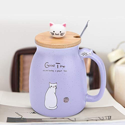 Taza de cerámica con cuchara y tapa, taza para café, agua, leche,...