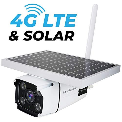 LUVISION 4G / LTE / 3G & Solar IP Überwachungskamera mit Akku | kabellose Outdoor Kamera | abnehmbares Solarpanel | SIM Karte | Full HD Nachtsicht | Gegensprechanlage | Cloud Speicherung