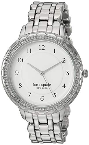 Kate Spade New York Women's Morningside Quartz Stainless Steel Three-Hand Dress Watch, Color: Silver Glitz (Model: KSW1551)