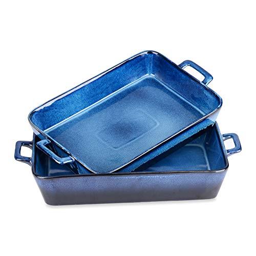 vancasso, Plat à Four en Céramique Ronde Carré Rectangulaire (GLIMMER-Bleu, Set de 2 Pièces)