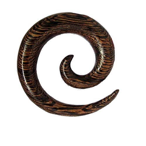 Chic-Net - Piercing a spirale in legno, con venature ondulate, 14 mm, colore: Marrone