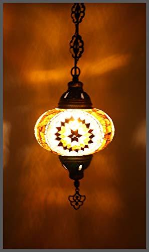 Mosaiklampe Mosaik - Hängeleuchte L orientalische lampe Deckenlampe Gold Stern Samarkand-Lights