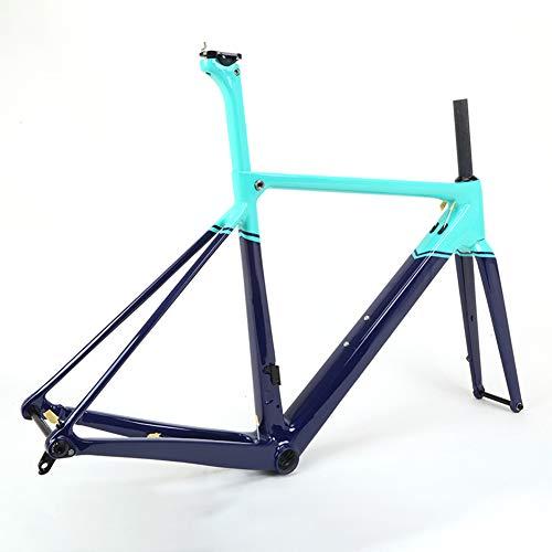 SXMXO Carbon Fahrradrahmen BB86 Kohlefaser T800 700C Straßenscheibenbremsrahmen Rennrad Mountainbike Rahmen 4 Größen 46CM, 49CM, 52CM, 54CM,54cm