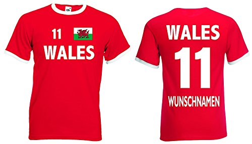 Fruit of the Loom Wales Retro Trikot mit Wunschname und Wunschnummer EM 2016|rot-M