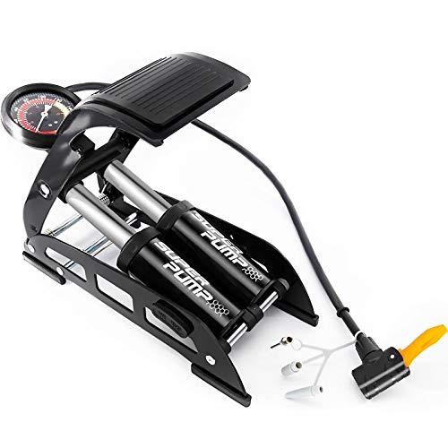 VERENO Doppelzylinder-Fußpumpe,tragbare Fußluftpumpe mit genauem Manometer und intelligenten Ventilen, 160PSI-Fahrradpumpe für Fahrräder, Motorräder, Autos, Bälle und andere Schlauchboote