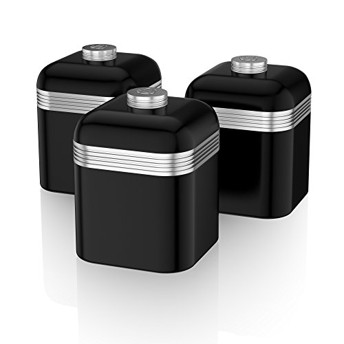 Swan Retro Kitchen Storage Canisters, Iron, Black, Set of 3