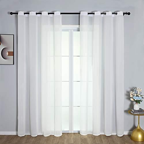 Festnight Vorhänge, 2PCS Voile Vorhänge Schlaufenvorhang Transparente Gardin ösenvorhang Waschmaschinenfest für Wohnzimmer Schlafzimmer Vorhang Weiß (White, 145x140cm)